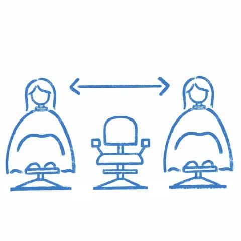 椅子の間隔をあけて施術