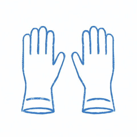 スタッフのゴム手袋着用